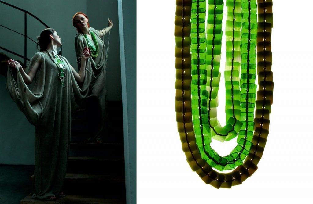 Lumen de lumine - sylwetki z kolekcji dyplomowej, detal szklanej biżuterii