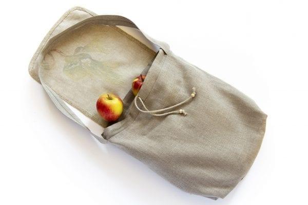 Dzikie Twory - lniana torba na zakupy z motywem palmy z jabłkami w środku