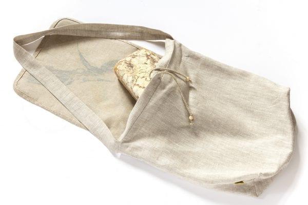 Dzikie Twory - lniana torba na chleb z akwarelowym nadrukiem dwa ptaki