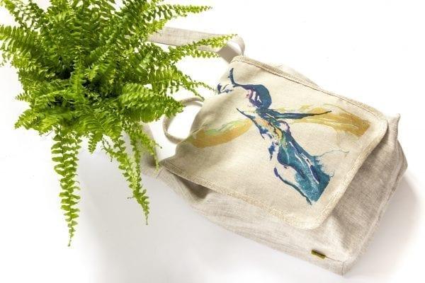 Dzikie Twory - lniana torba z akwarelowym nadrukiem dwa ptaki2