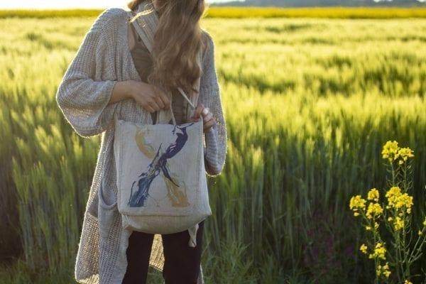 Dzikie Twory - lniana torba z akwarelowym nadrukiem ptaki1