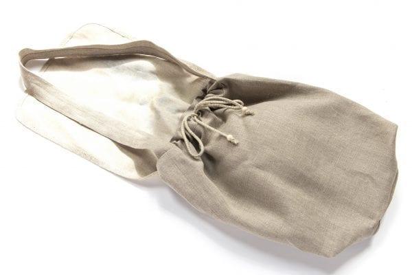 Dzikie Twory - torba z lnu na chleb z nadrukiem paw na gałęzi ciemny len zawiązane sznureczki