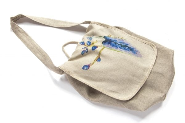 Dzikie Twory - torba z lnu na chleb z nadrukiem paw na gałęzi ciemny1
