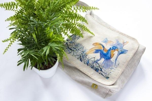 Dzikie Twory - torba z lnu na zakupy akwarela niebieski ptak