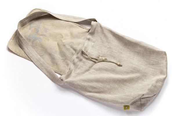 Dzikie Twory - torba z lnu na zakupy akwarela niebieski ptak spód