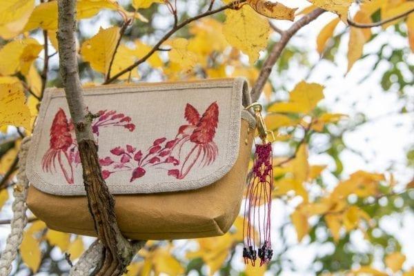 Dzikie Twory - mała torebka z lnu i Washpapy z motywem czerwonych kolibrów6